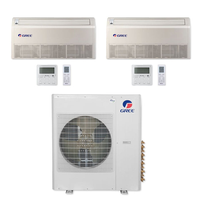 Gree 42,000 BTU Multi21+ Dual-Zone Floor/Ceiling Mini Split Air Conditioner Heat Pump 208/230V SEER 21 (18-18)