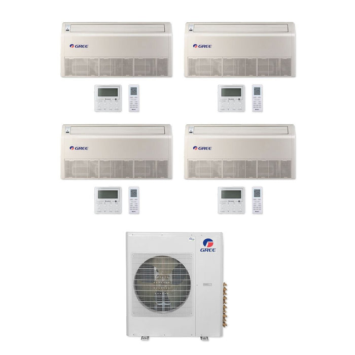 Gree 42,000 BTU Multi21+ Quad-Zone Floor/Ceiling Mini Split Air Conditioner Heat Pump 208/230V SEER 21 (12-12-12-12)