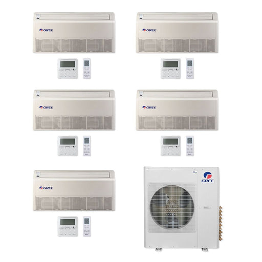 Gree MULTI42CFLR500 - 42,000 BTU Multi21+ Penta-Zone Floor/Ceiling Mini Split Air Conditioner Heat Pump 208-230V (9-9-9-9-9)