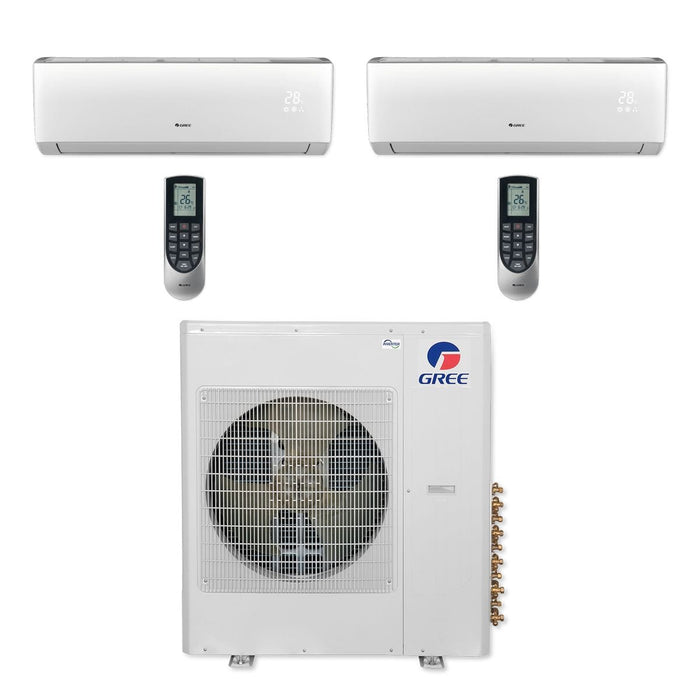 Gree MULTI42CLIV209 - 42,000 BTU Multi21+ Dual-Zone Wall Mount Mini Split Air Conditioner Heat Pump 208-230V (24-24)