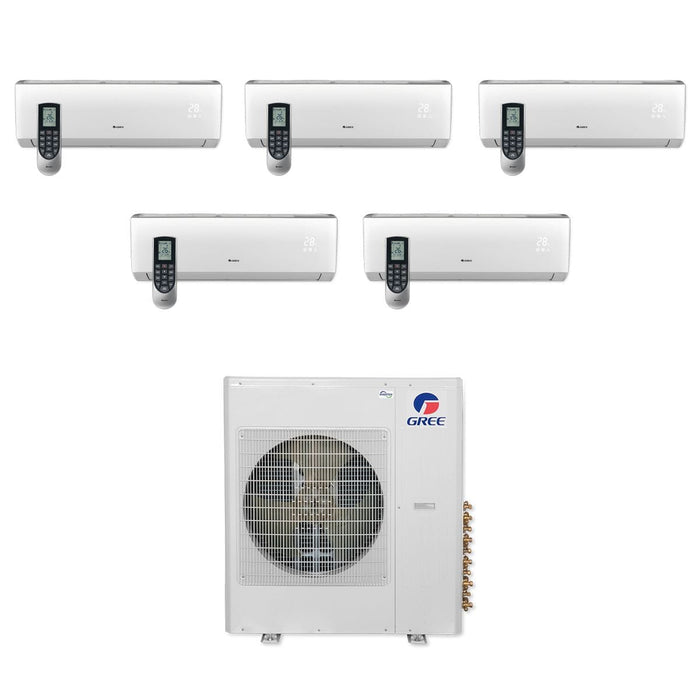 Gree 42,000 BTU Multi21+ Penta-Zone Wall Mount Mini Split Air Conditioner Heat Pump 208/230V SEER 21 (9-9-9-9-9)