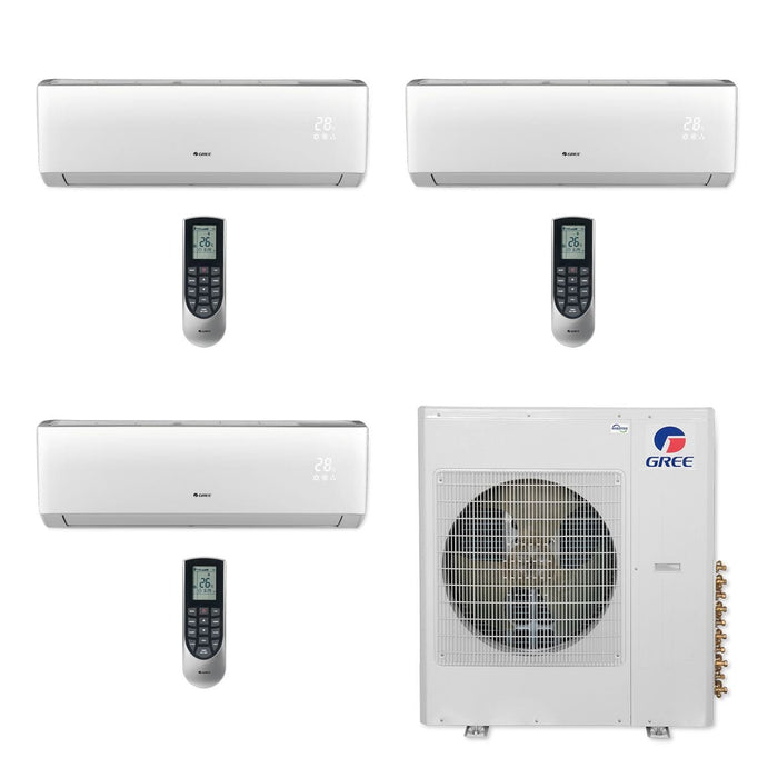 Gree 42,000 BTU Multi21+ Tri-Zone Wall Mount Mini Split Air Conditioner Heat Pump 208/230V SEER 21 (9-12-12)