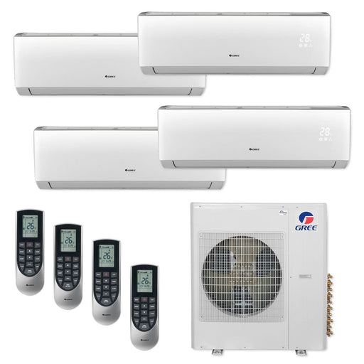 Gree 42,000 BTU Multi21+ Quad-Zone Wall Mount Mini Split Air Conditioner Heat Pump 208/230V SEER 21 (9-9-9-12)