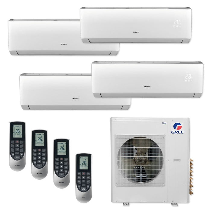Gree 42,000 BTU Multi21+ Quad-Zone Wall Mount Mini Split Air Conditioner Heat Pump 208/230V SEER 21 (12-12-12-12)