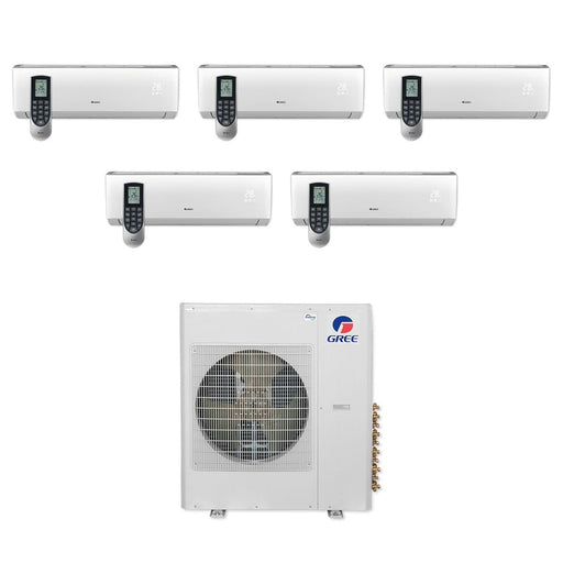 42,000 BTU Multi21+ Penta-Zone Wall Mount Mini Split Air Conditioner Heat Pump 208-230V (9-9-9-9-12)
