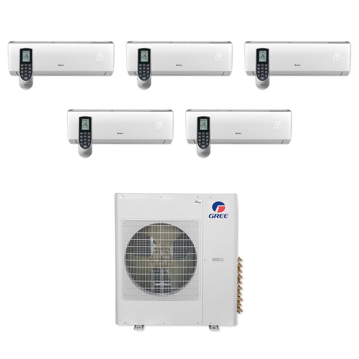 Gree 42,000 BTU Multi21+ Penta-Zone Wall Mount Mini Split Air Conditioner Heat Pump 208/230V SEER 21 (9-9-9-9-12)
