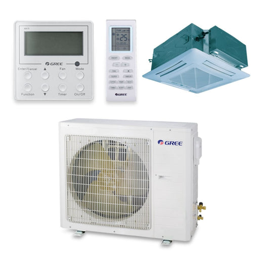 Gree 18,000 BTU 16 SEER Ceiling Cassette Ductless Mini Split Air Conditioner Heat Pump 208/230V