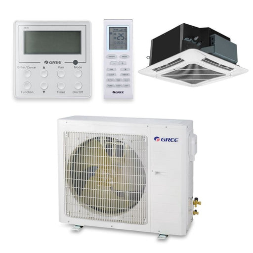 Gree 24,000 BTU 18 SEER Ceiling Cassette Ductless Mini Split Air Conditioner Heat Pump 208/230V