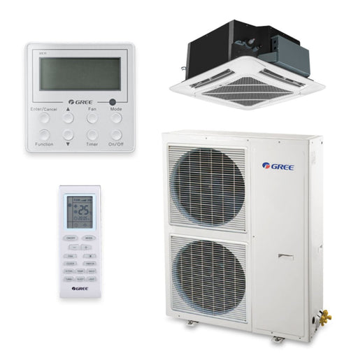 Gree 42,000 BTU 16 SEER Ceiling Cassette Ductless Mini Split Air Conditioner Heat Pump 208/230V