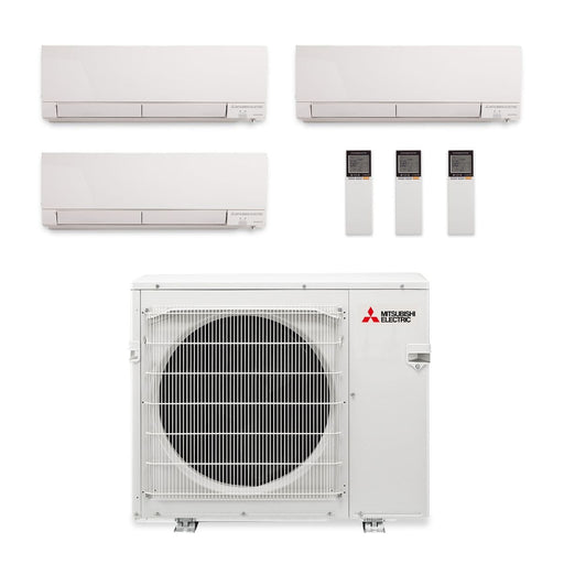 Mitsubishi 24,000 BTU Hyper Heat Tri-Zone Wall Mount Mini Split Air Conditioner 208-230V (6, 9, 12)