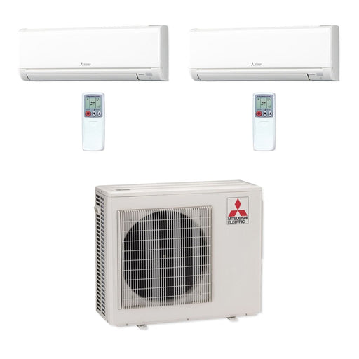 Mitsubishi 20,000 BTU MR SLIM Dual-Zone Ductless Mini Split Air Conditioner Heat Pump 208-230V (9, 9)