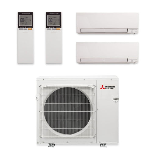 Mitsubishi 20,000 BTU Hyper Heat Dual-Zone Wall Mount Mini Split Air Conditioner 208-230V (9, 12)