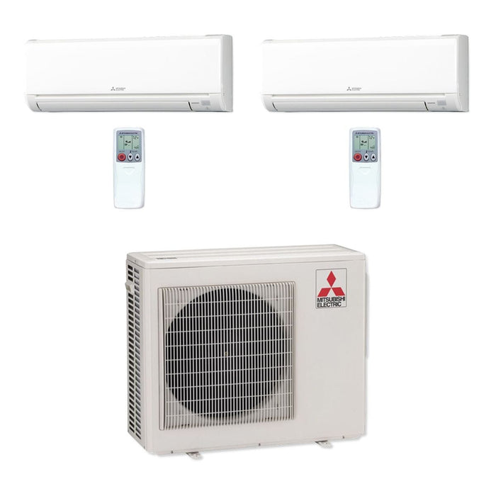 Mitsubishi 24,000 BTU MR SLIM Dual-Zone Ductless Mini Split Air Conditioner Heat Pump 208-230V (12, 12)
