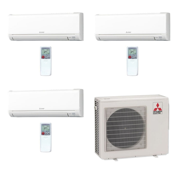 Mitsubishi 24,000 BTU MR SLIM Tri-Zone Ductless Mini Split Air Conditioner Heat Pump 208-230V (9, 9, 9)