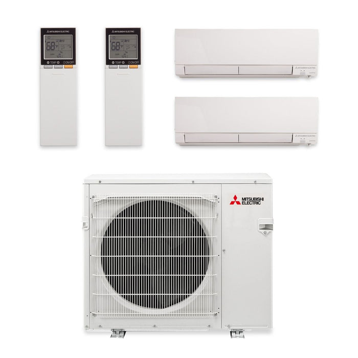 Mitsubishi 24,000 BTU Hyper Heat Dual-Zone Wall Mount Mini Split Air Conditioner 208-230V (9, 9)