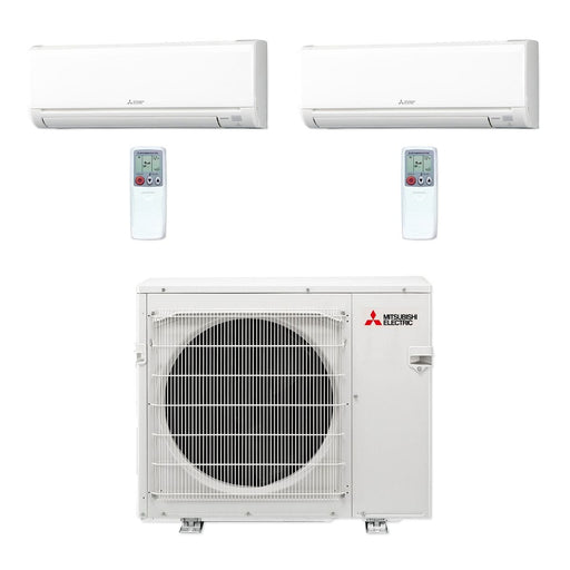 Mitsubishi 30,000 BTU MR SLIM Dual-Zone Ductless Mini Split Air Conditioner Heat Pump 208-230V (12, 18)