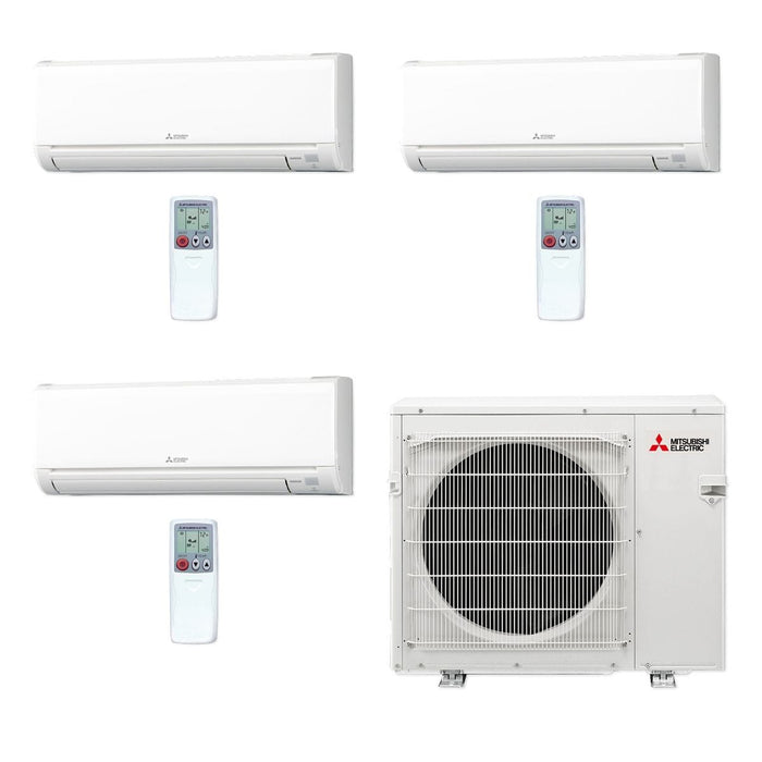 Mitsubishi 30,000 BTU MR SLIM Tri-Zone Ductless Mini Split Air Conditioner Heat Pump 208-230V (6, 12, 12)