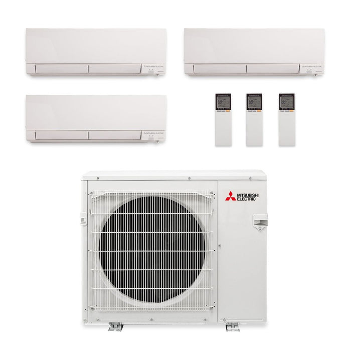 Mitsubishi 30,000 BTU Hyper Heat Tri-Zone Wall Mount Mini Split Air Conditioner 208-230V (9, 12, 12)