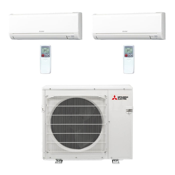 Mitsubishi 36,000 BTU MR SLIM Dual-Zone Ductless Mini Split Air Conditioner Heat Pump 208-230V (9, 24)