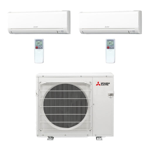 Mitsubishi 36,000 BTU MR SLIM Dual-Zone Ductless Mini Split Air Conditioner Heat Pump 208-230V (18, 18)