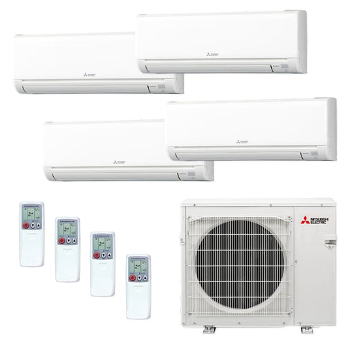 Mitsubishi 36,000 BTU MR SLIM Quad-Zone Ductless Mini Split Air Conditioner Heat Pump 208-230V (6, 9, 12, 12)