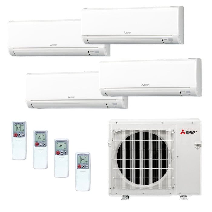 Mitsubishi 36,000 BTU MR SLIM Quad-Zone Ductless Mini Split Air Conditioner Heat Pump 208-230V (9, 9, 9, 9)
