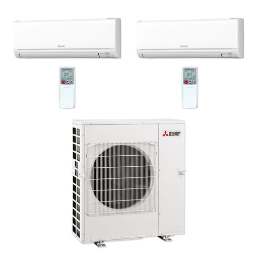 Mitsubishi 42,000 BTU MR SLIM Dual-Zone Ductless Mini Split Air Conditioner Heat Pump 208-230V (18, 18)