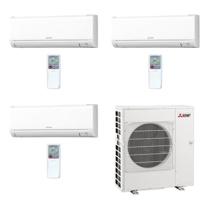 Mitsubishi 42,000 BTU MR SLIM Tri-Zone Ductless Mini Split Air Conditioner Heat Pump 208-230V (6, 18, 18)