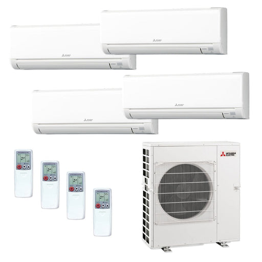 Mitsubishi 42,000 BTU MR SLIM Quad-Zone Ductless Mini Split Air Conditioner Heat Pump 208-230V (6, 6, 12, 15)
