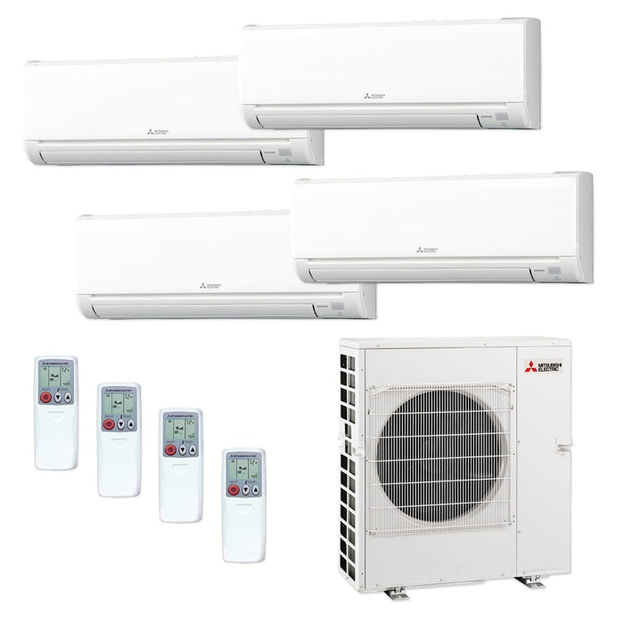 Mitsubishi 42,000 BTU MR SLIM Quad-Zone Ductless Mini Split Air Conditioner Heat Pump 208-230V (9, 9, 9, 18)