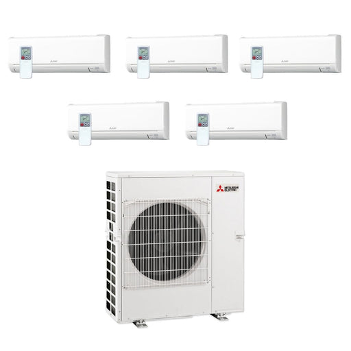 Mitsubishi 42,000 BTU MR SLIM Penta-Zone Ductless Mini Split Air Conditioner Heat Pump 208-230V (6, 6, 9, 12, 12)