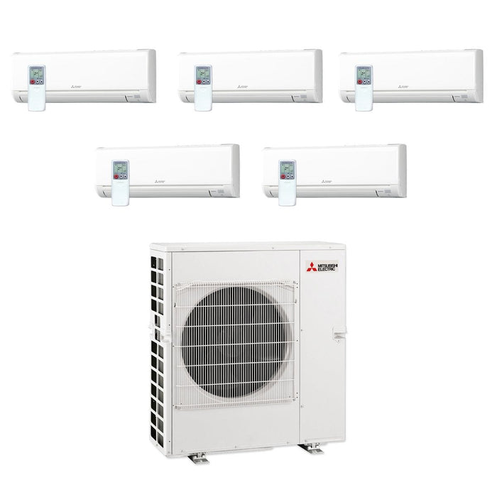 Mitsubishi 42,000 BTU MR SLIM Penta-Zone Ductless Mini Split Air Conditioner Heat Pump 208-230V (9, 9, 9, 9, 9)