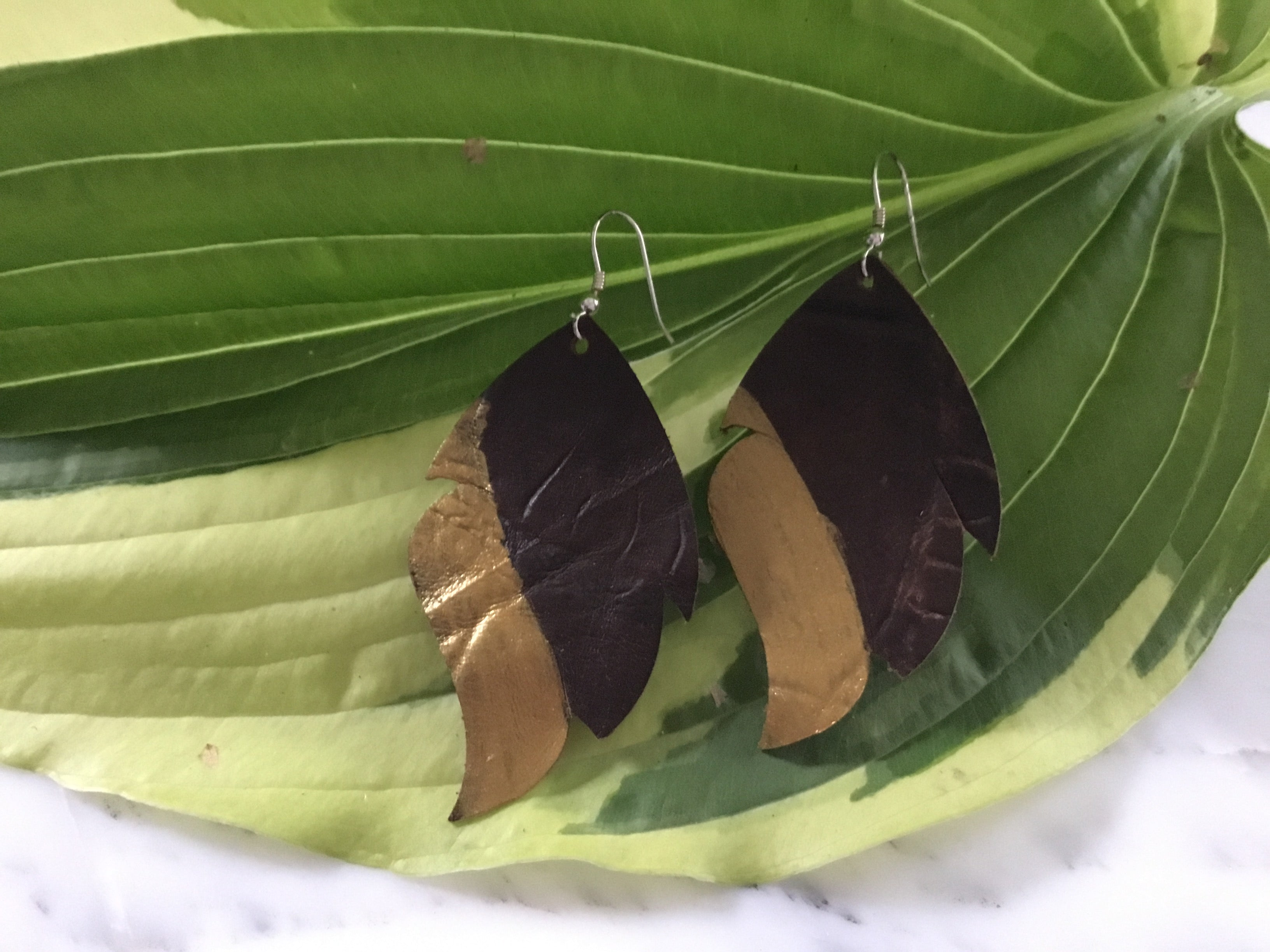GBT Gems Leather Painted Feather Earrings