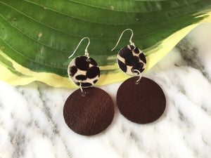 GBT Gems Cheetah Circle Drop Earrings