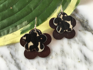 GBT Gems Brown Cheetah Flower Earrings