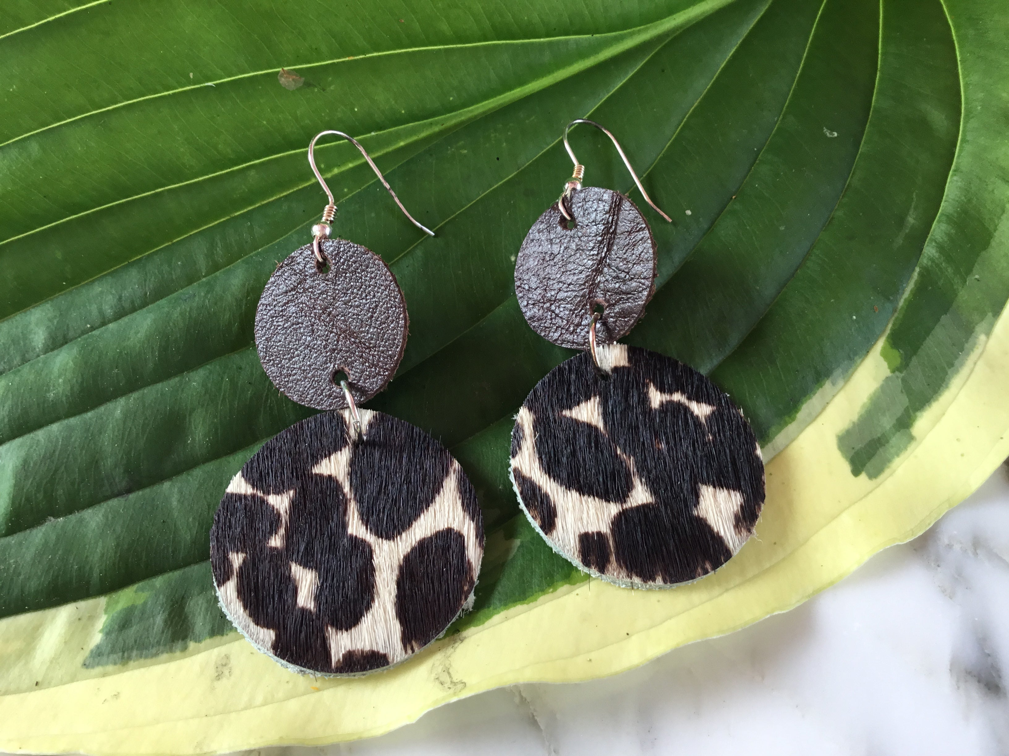 GBT Gems Leather Cheetah Circle Drop Earrings