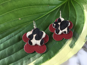 GBT Gems Red Cheetah Flower Earrings