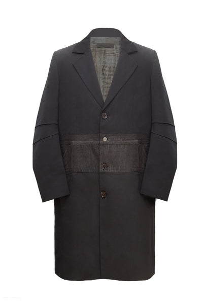 BLACK WOOL COAT WITH DENIM WAIST