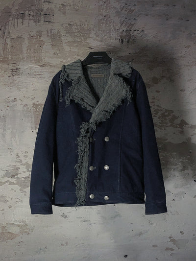 [Preorder] CANVAS CONTRAST KNIT LINING JACKET WITH TORN EDGE