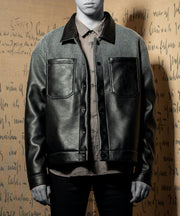 [Pre-Order]The Patriarch Felt-Leather Gradient Jacket