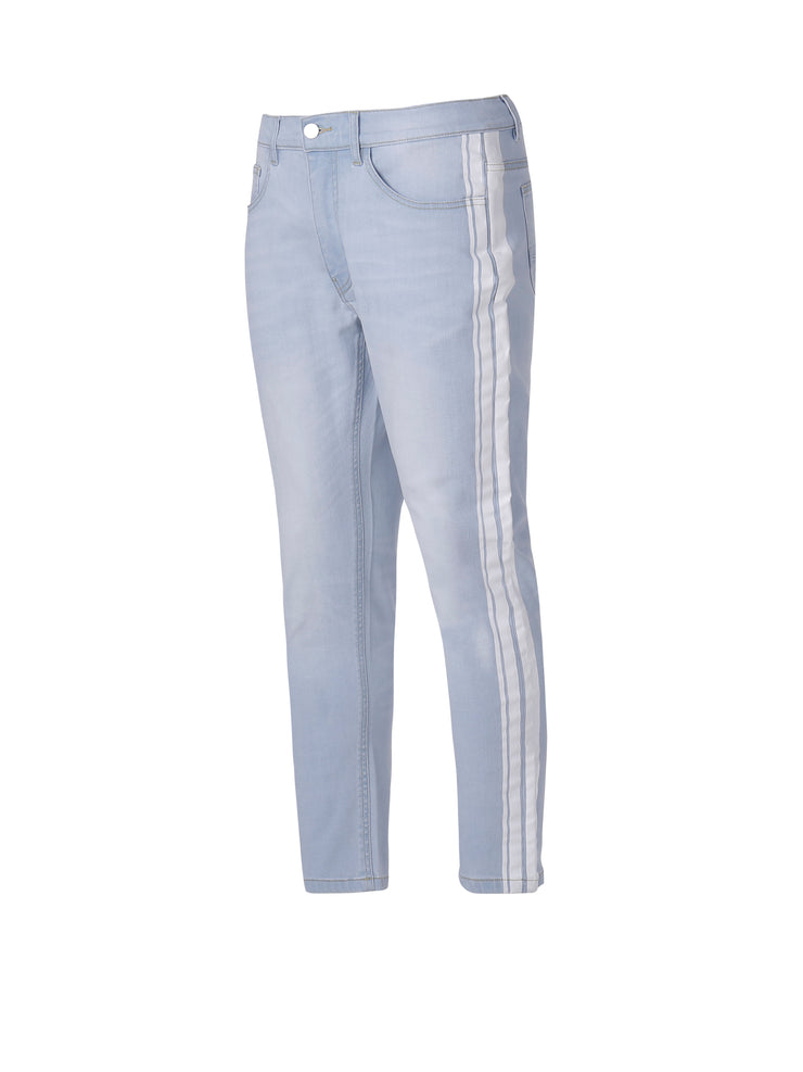Light Indigo Cropped Jeans/White Stripe