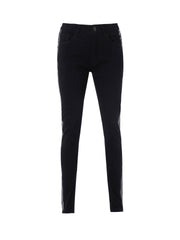Long Slim Black Jeans/Dull Polished Black