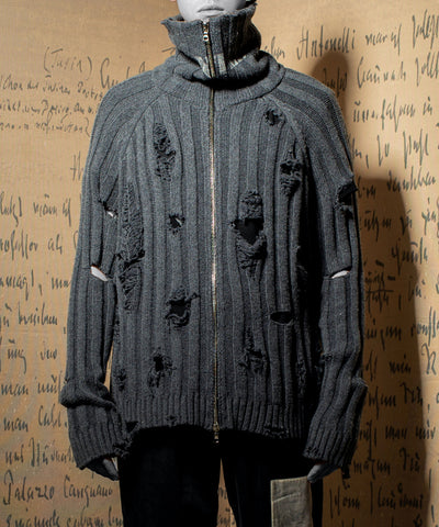 IMPERFECTION 'WANTED' zip up torn sweater