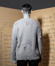 THE PATRIARCH bullet holes distressed sweater