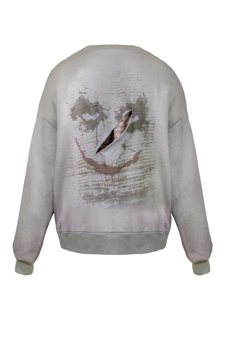 DISTRSSED JOKER FACE SWEATSHIRT