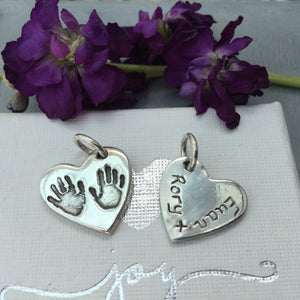 Sibling Heart Handprint or Footprint Charm - Joy Impressions