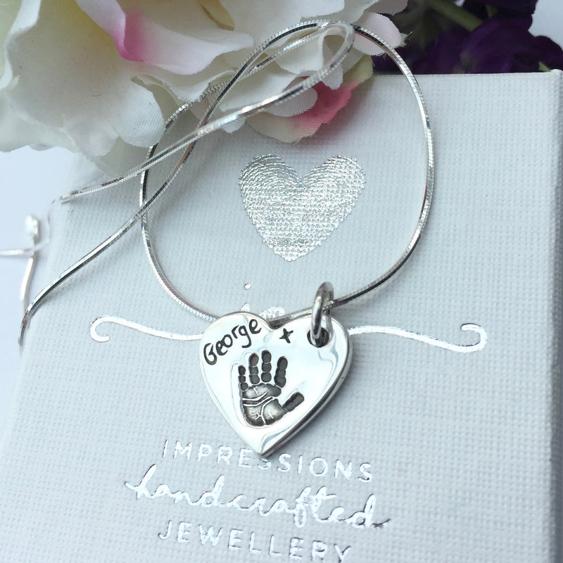 Heart Handprint or Footprint Charm Necklace - Joy Impressions