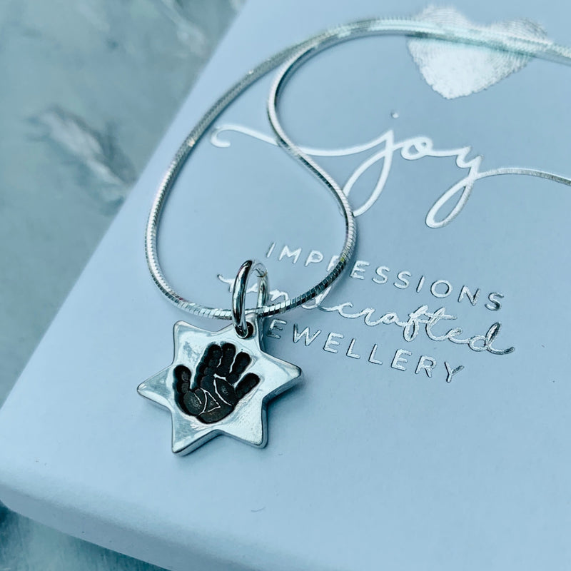 Star Handprint or Footprint Charm Necklace - Joy Impressions