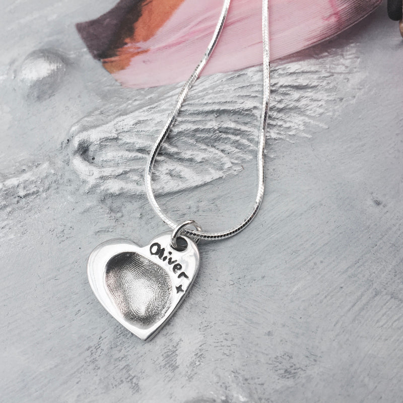 Heart Fingerprint Charm Necklace - Joy Impressions