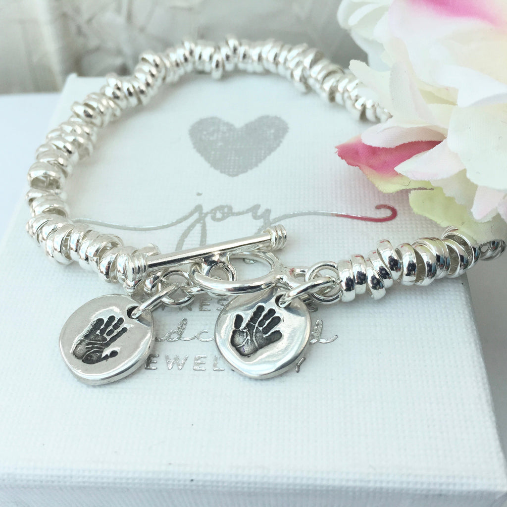 Circle Handprint or Footprint Charm Sweetie Bracelet - Joy Impressions